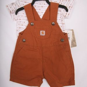 Carhart NWT overall's and shirt Brown and White